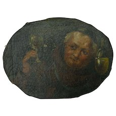 Tipsy Monk w. Wine Glass & Bottle, Antique Victorian Oil Painting