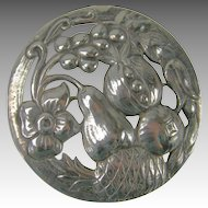 Vintage Sterling Repusse Fruit  Brooch