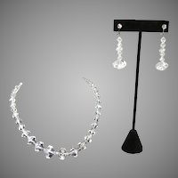 Vintage Cut Crystal Necklace and Earrings