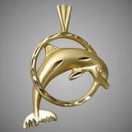 Vintage 14k Gold Leaping Dolphin Pendant