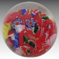 Mini Millefiori Glass Paperweight, 1 ¾ inches, red, white and blue