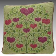 Vintage Hand-made Needlepoint Pillow w. Pink Hearts