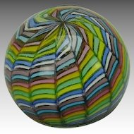Venetian Art Glass Paperweight with Pastel and Gold Sparkle Ribbon Pattern