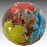 Mini Glass Paperweight, 1 ½ inches, with a Garden of Flowers
