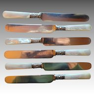 English Antique Mother of Pearl and Sterling Knives set of 6