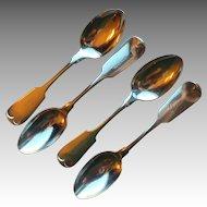 Antique Fiddle Tipt Sterling Spoons, set of 5, monogram Sara