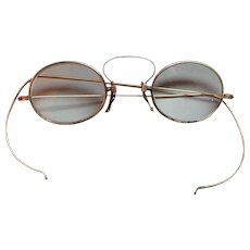 Antique 10k Yellow Gold Wire-Rimmed Eyeglasses