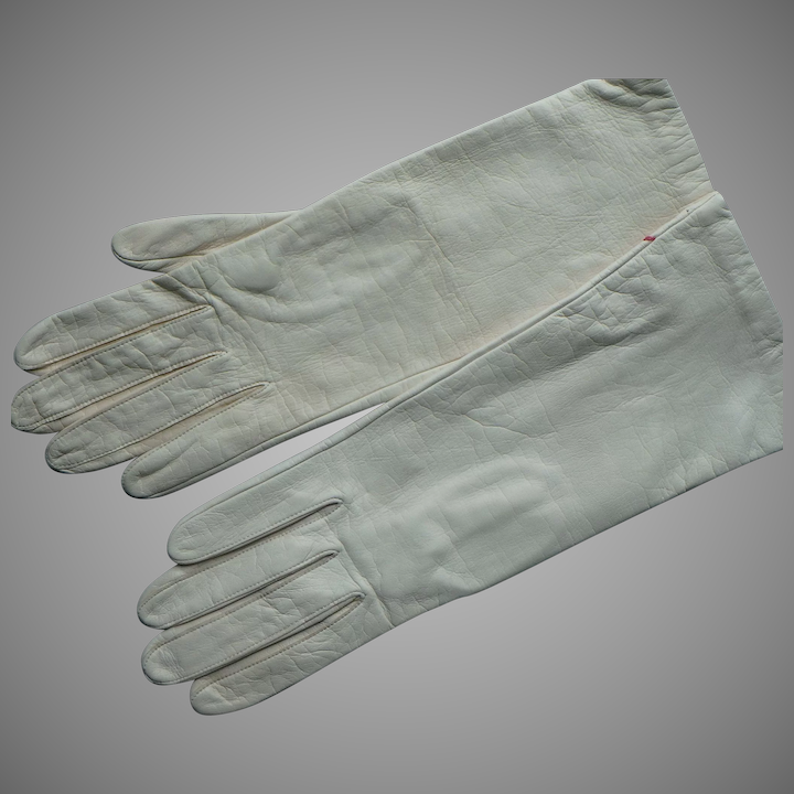 1c63854f8 Vintage French Ivory color Leather Silk Lined Women's Gloves, size 7 1/2
