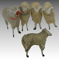 4 Vintage Christmas Putz Sheep plus one Germany