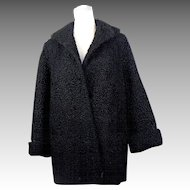Vintage Black Curly Lamb Stroller Fur Coat