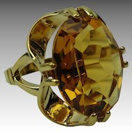 Vintage 8K Rolled Gold Ring with Faux Citrine Oval Stone
