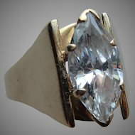 Vintage 14K Yellow Gold and Large Marquise Cut CZ Ring