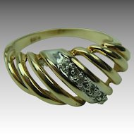 Vintage Mid-Century 10K Yellow Gold with Diamonds Shrimp Ring