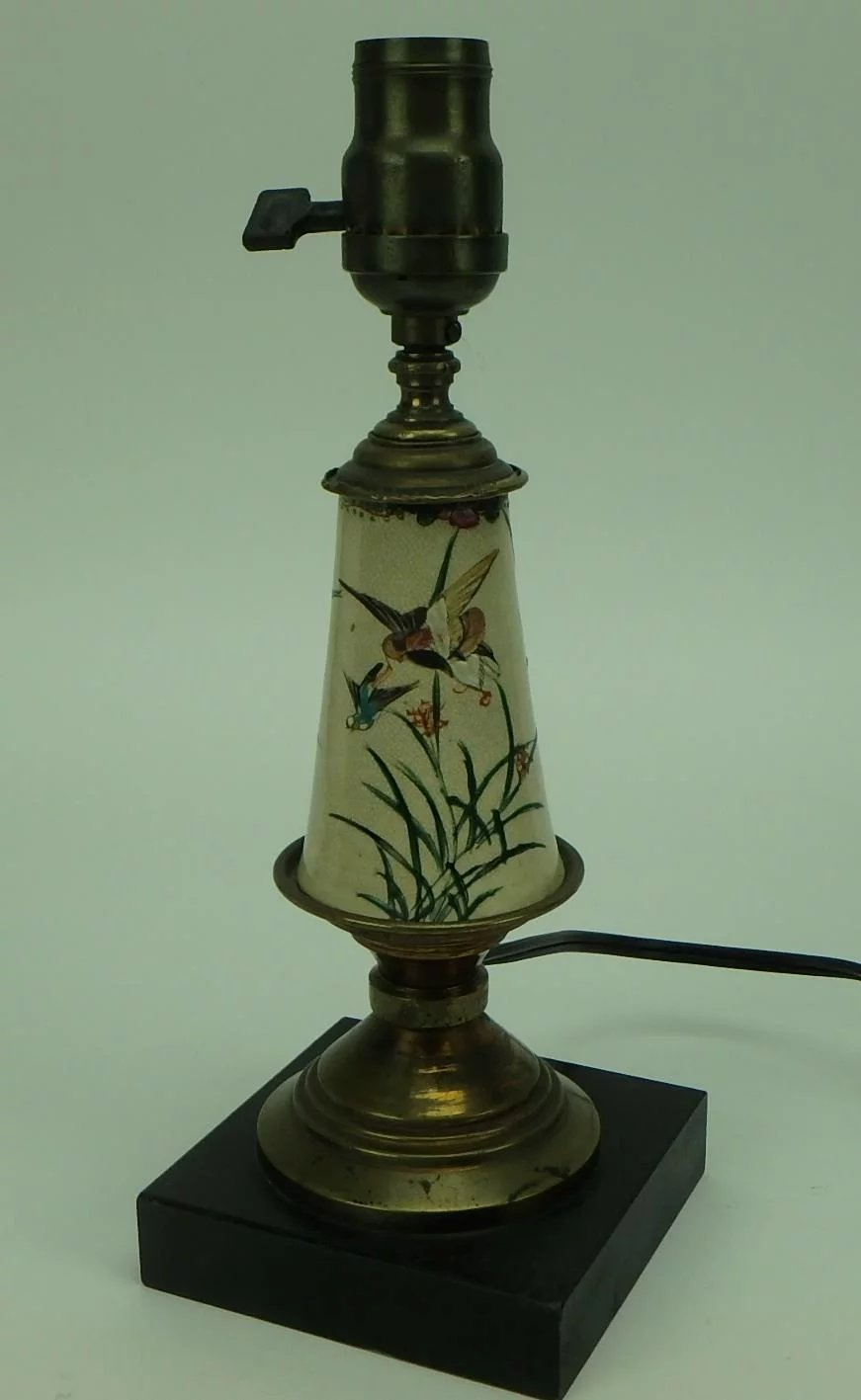 Vintage Hand Painted Satsuma Table Lamp With Birds And