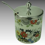 Vintage Staffordshire Jelly Jam Jar with Silver plate Lid and Spoon