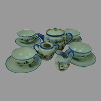 Vintage Child's Doll Tea Set with Children, Dogs, Sled and Skier, Japan