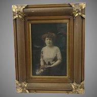 Antique Edwardian Gilt Wood Frame with Wedding Photo Portrait