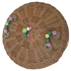 Vintage Chinese Sewing Basket with Beads and Coins