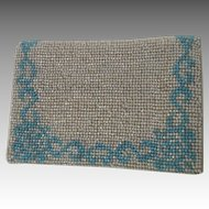 Vintage Sky Blue and White Bead Work Card Case