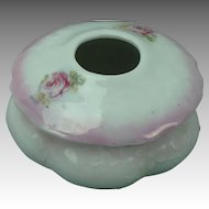 Vintage Porcelain Hair Receiver, White with Roses
