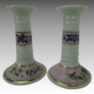 Antique Porcelain Vanity Candlesticks Hand-painted Flowers Pair