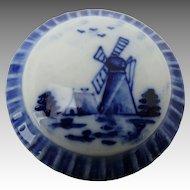 Small Vintage Delft Porcelain Vanity Dresser Box Windmill