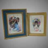 Pair Vintage DeGrazia Prints Navajo Children