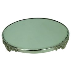 Victorian Plateau Mirror with Silver Plated Rim Floral Legs