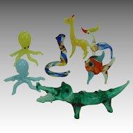 Miniature Glass Animals Vintage set of 7, giraffe, alligator, bird, fish, 2 octopus, snake