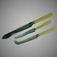 Celluloid Handle Kitchen Knives Set of 3 Vintage Sheffield England
