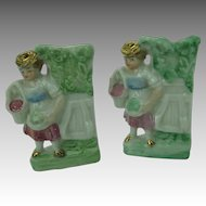 Two Fairing Vases Woman with Basket of Apples Antique Germany