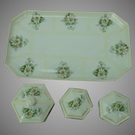 Dresser Tray Set Daisy Antique Prussia Porcelain 4 Piece