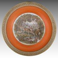 Antique Pratt Ware Staffordshire Transferware Plate with Deer