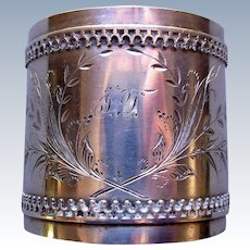Duhme  & Co. Coin Silver Napkin Ring Antique Cincinnati Ohio