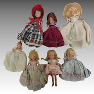 Vintage Bisque Story Book Dolls, collection of 7