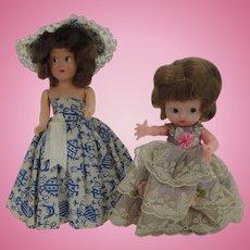 Two Vintage Hard Plastic Small Dolls