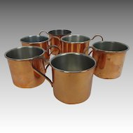 Vintage Cavalier Copper Mugs National Silver Company set of 6