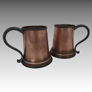 Vintage Pair of Copper and Pewter Tankards or Mugs with Glass Bottoms