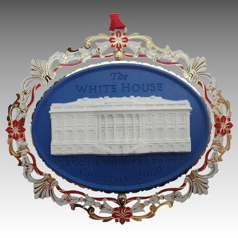 White House Historical Association Christmas Ornament 2000, 200th White House Anniversary, MIB