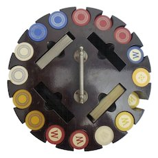 Vintage Clay Poker Chip Set with Revolving Case 405 chips