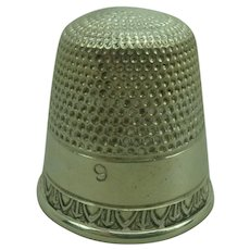 Antique Silver Thimble size  9