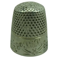 Antique Silver Thimble, monogram TEP