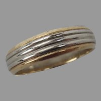 14k Yellow and White Gold Milgrain Wedding Band size 9