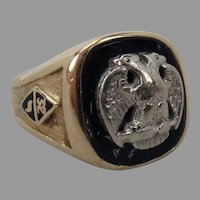 Vintage 14K Yellow Gold Masonic Ring 32nd Degree size 9