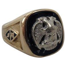 Vintage 14K Yellow Gold Masonic Ring 32nd Degree size 9