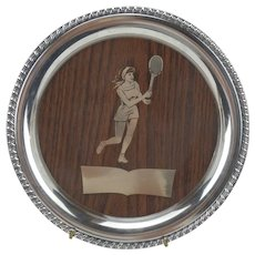 Mid-Century Woman's Tennis Trophy Cocktail Tray Silverplate