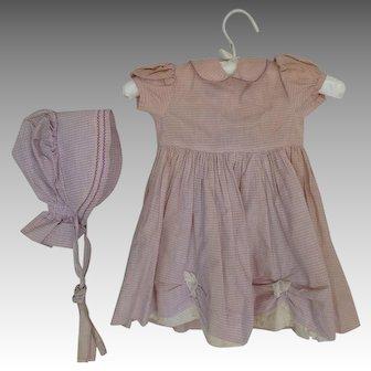 Girl's Vintage Cotton Print Bonnet and Dress