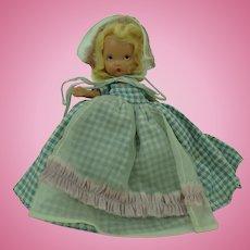 Nancy Ann Storybook Doll Bisque Blue Gingham Dress