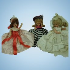 3 Nancy Ann Storybook Dolls Plastic one Bride