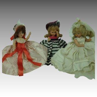 3 Nancy Ann Storybook Dolls Plastic one Bride